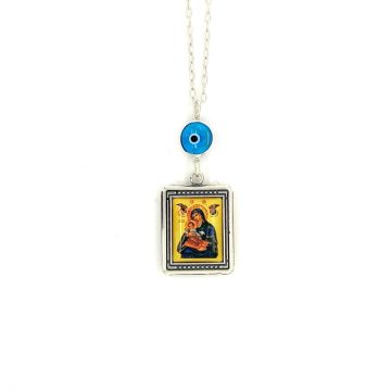 Car charm silver (925°), double side Virgin Mary – Christ and evil eye