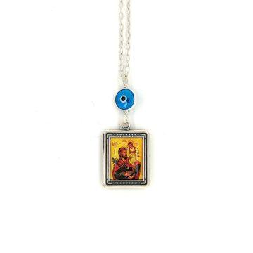 Φυλαχτό Αυτοκινήτου ασήμι (925°) διπλής όψεως Παναγία – Χριστός και μάτι