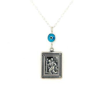 Car charm silver (925°), double side Saint Christopher – Virgin Mary and evil eye