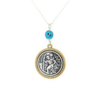 Car charm silver (925°),double-side Saint Christopher – Virgin Mary and evil eye