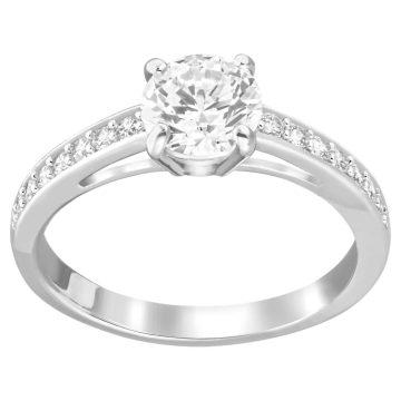 SWAROVSKI Δαχτυλίδι Attract Στρογγυλό, Pavé, Λευκό,Επιμετάλλωση ροδίου,size 55,5032921