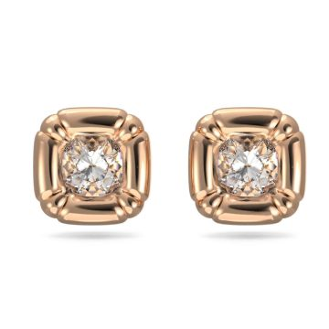 SWAROVSKI Σκουλαρίκια με καραφάκι Dulcis Κρύσταλλα κοπής cushion, Ροζ χρυσαφί τόνος,5617910
